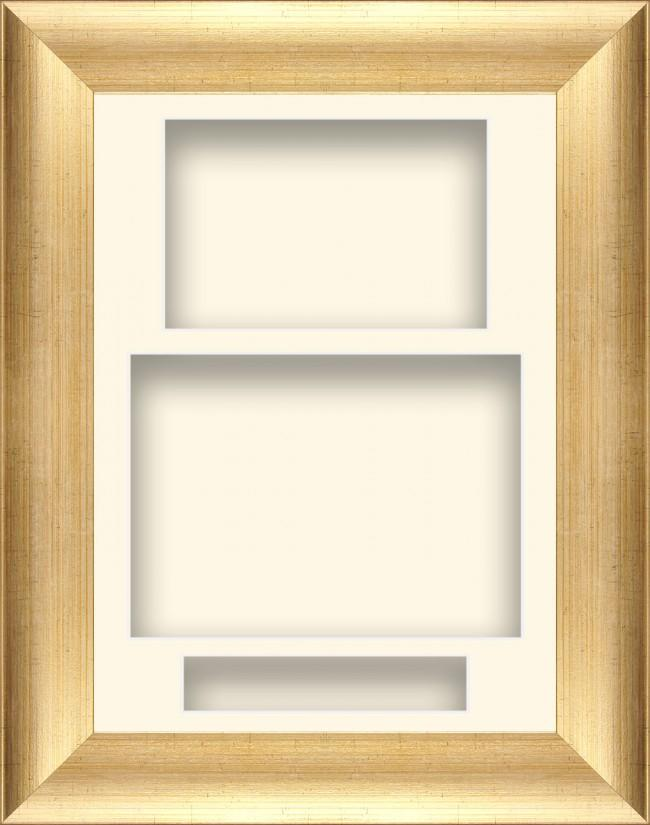 "11.5x8.5"" Antique Gold Box Display Frame Cream Portrait"