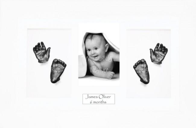 Baby Hand Foot 3D Prints Casting Kit Gift Set White Frame, Pewter
