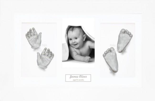 Baby 3D Hand Foot Print Casting Kit Gift Set White Frame Silver Casts