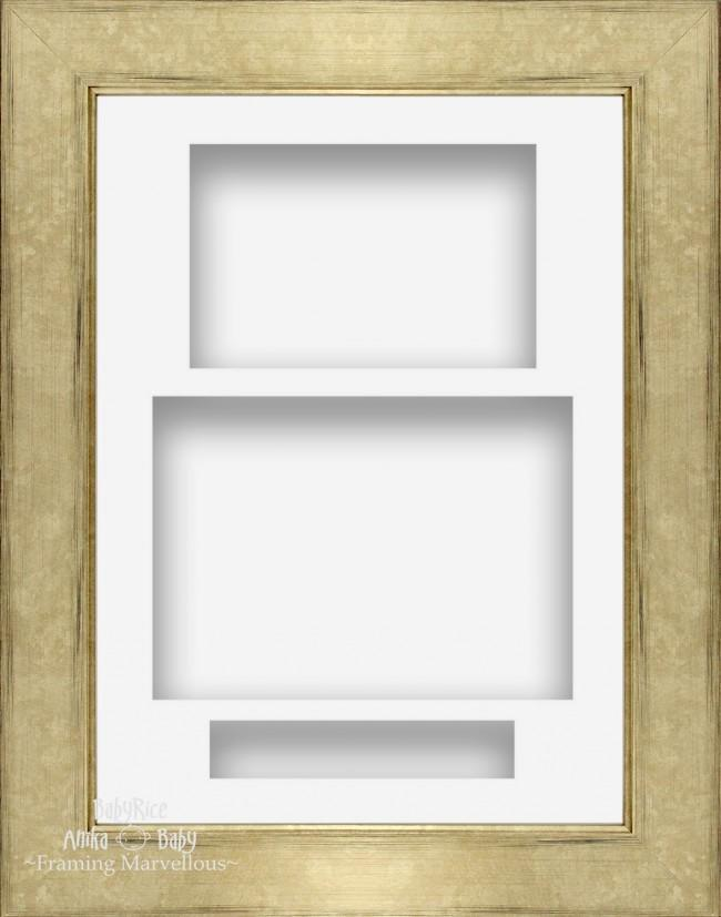 "11.5x8.5"" Champagne Silver 3D Deep Shadow Box Frame White Portrait"