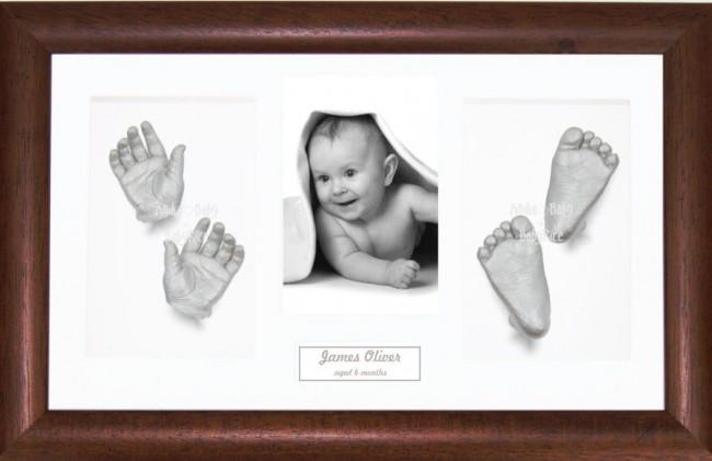New Baby Baptism Gift, 3D Hand Footprint Kit, Dark Wood, Silver