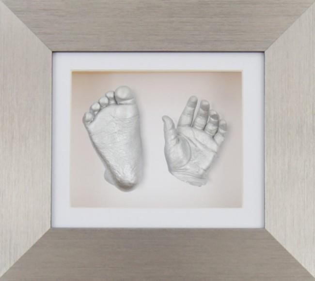 Baby Casting Kit Pewter Frame White Display Silver paint