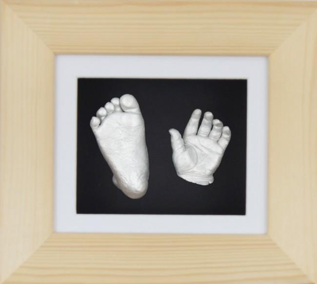 Baby Casting Kit Natural Wooden Frame White Black Display Silver