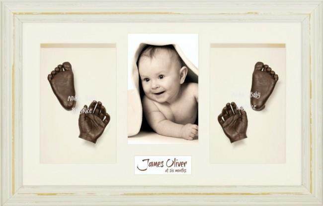 Baby Casting Kit / Shabby Chic Cream Frame / Bronze Hand Foot Casts