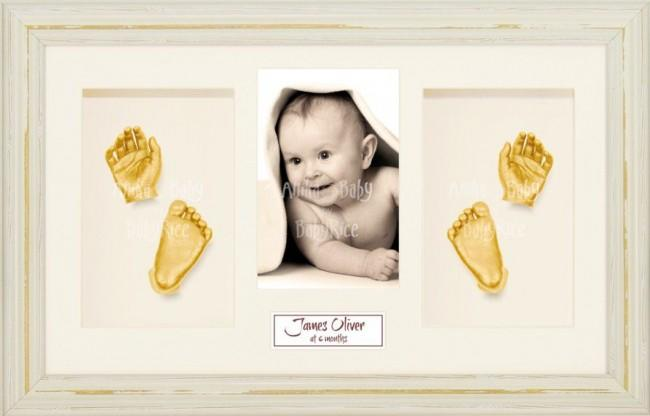 Baby Casting Kit / Shabby Chic Cream Frame / Gold Hands Feet Casts