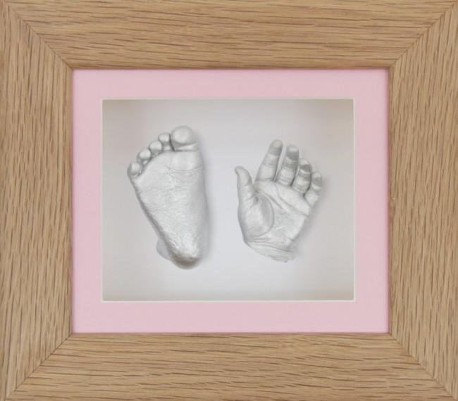 Baby Girl Gift Present 3D Baby Casting Pink White Display Silver