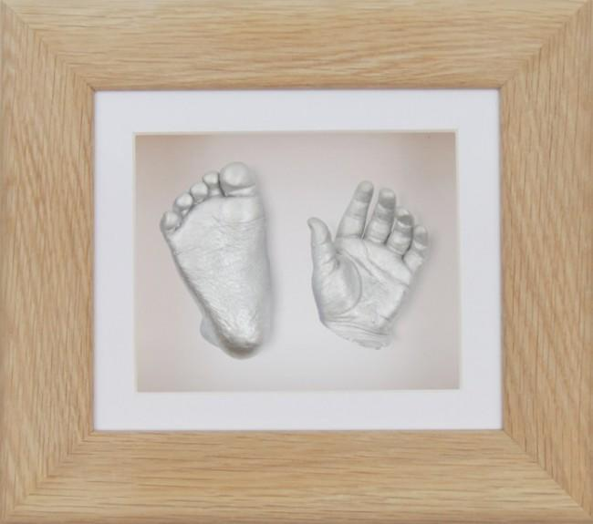 Baby Casting Kit Solid Oak Wooden Frame White Silver paint