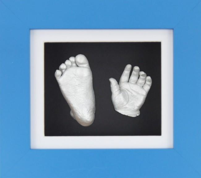 Baby Boy Gift 3D Casting Kit Blue Frame White Black Silver