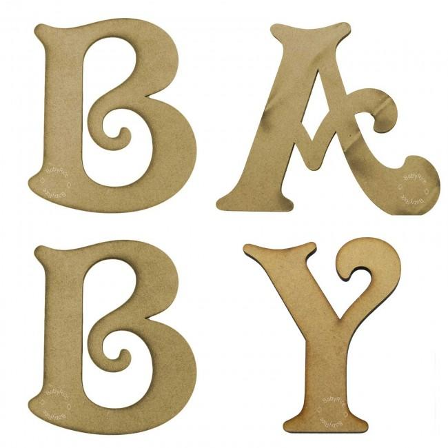 MDF wooden letters spelling out BABY