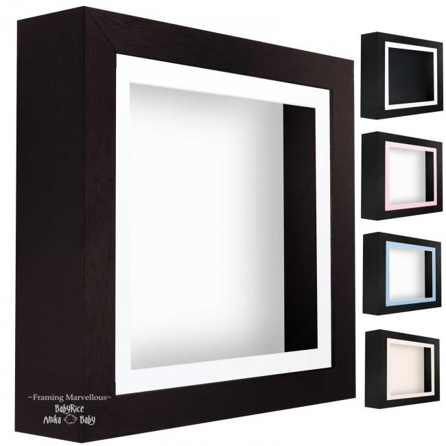 Black Shadow Box Deep Display 3D Wooden Frame Square - Choose Size
