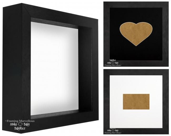 Black Shadow Box Deep Display 3D Wooden Frame Square Heart  - Choose Size
