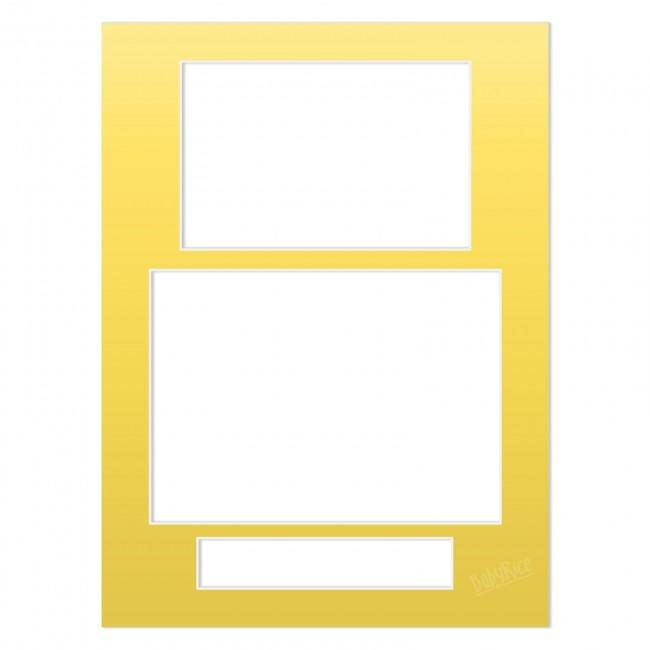 Three Aperture Picture Frame Mount 12x9 Inches (Portrait) - Metallic Gold