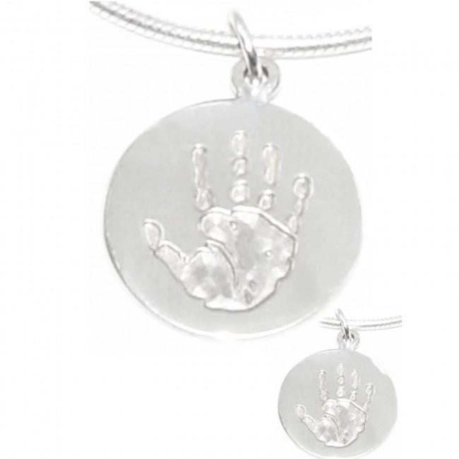 New Baby Handprint Footprint Jewellery Silver Circle Pendant on Chain