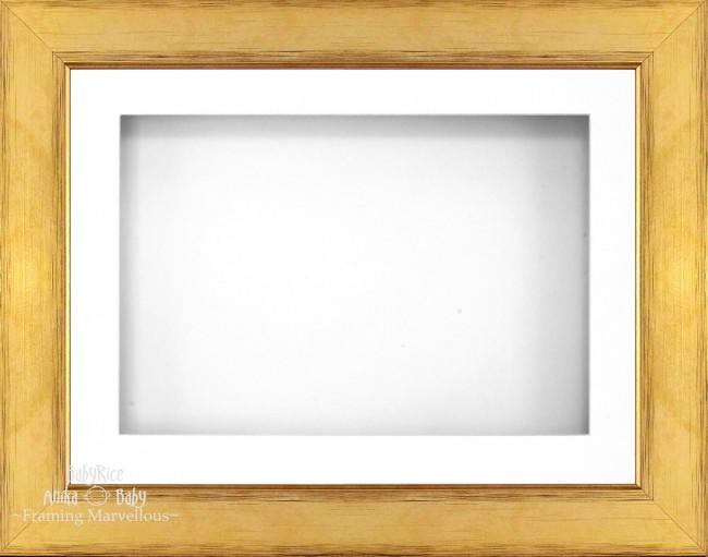 "11.5x8.5"" Gold 3D Deep Box Display Frame White Mount"