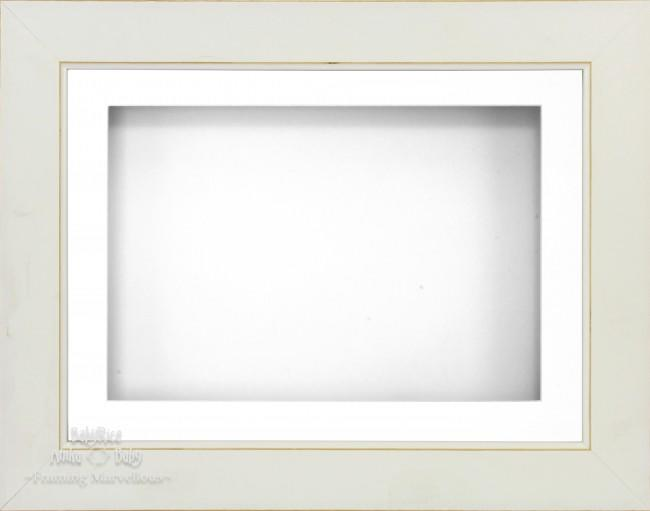 "11.5x8.5"" White Wash 3D Deep Box Display Frame White Mount"