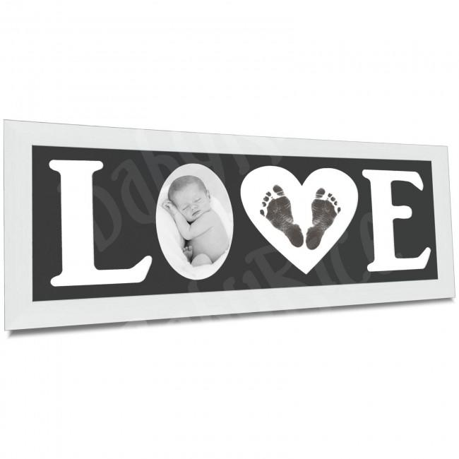 Baby Hand and Footprint Kit with Love Photo Picture Frame in Silver – Black