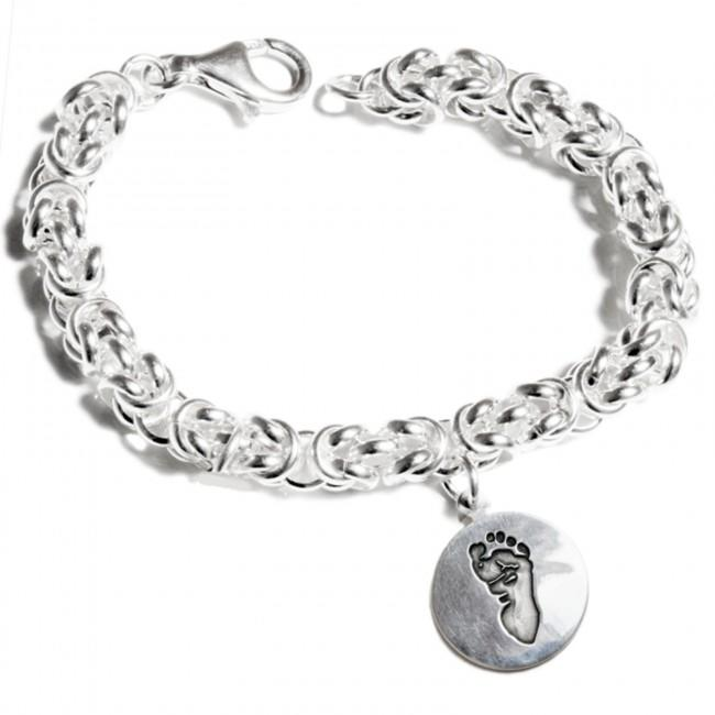 Sterling Silver Byzantine Bracelet with Personalised Circle Charm