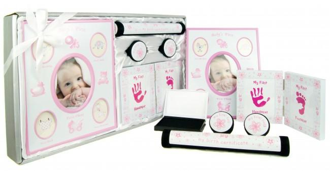 Baby Girl Keepsake Gift Set My First Photo Curl Tooth Handprint Pink