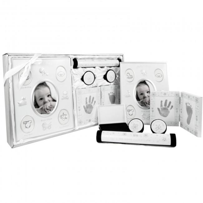 New Baby Keepsake Gift Set My First Photo Footprint Curl Tooth Silver