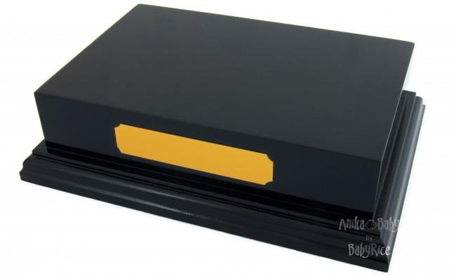 "Plinth Display 6x4"" Black Blank Gold Plaque"