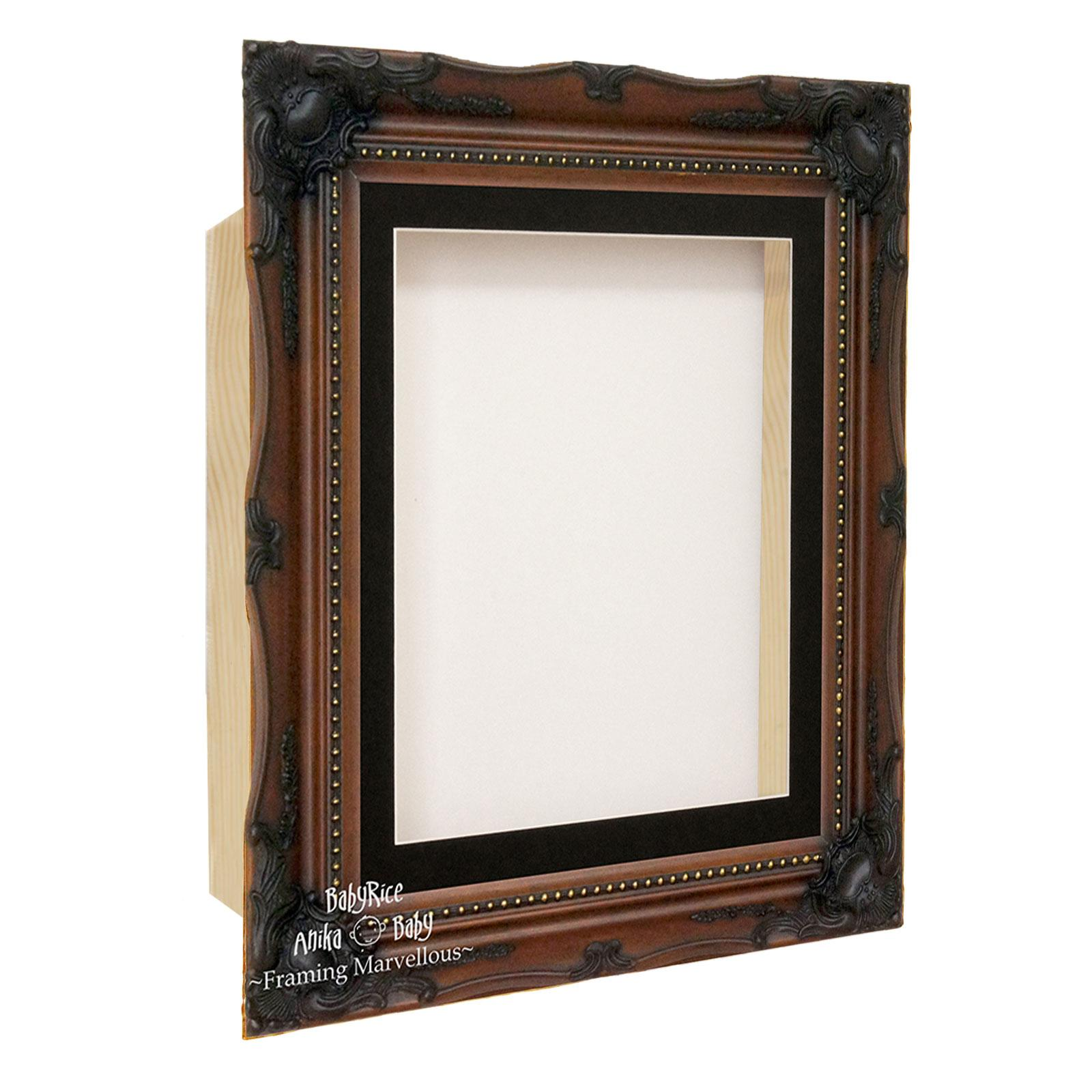 Walnut Brown Ornate Rococo Box Display Frame
