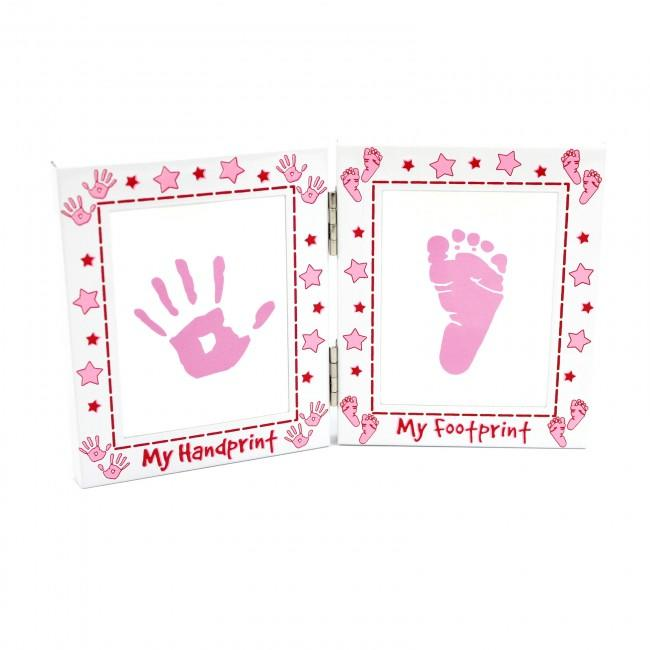 Baby Girl Handprint Footprint Kit and Pink Frame