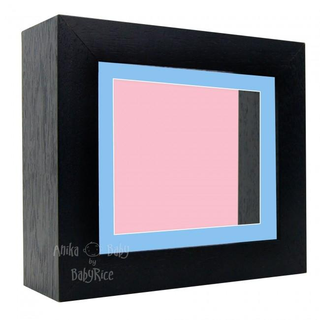 "Deluxe Black Deep Box Frame 6x5"" with Blue Mount and Pink Backing"
