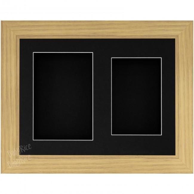 "9x12"" Oak Effect 3D Display Frame 2 Hole Black Mount and Back"
