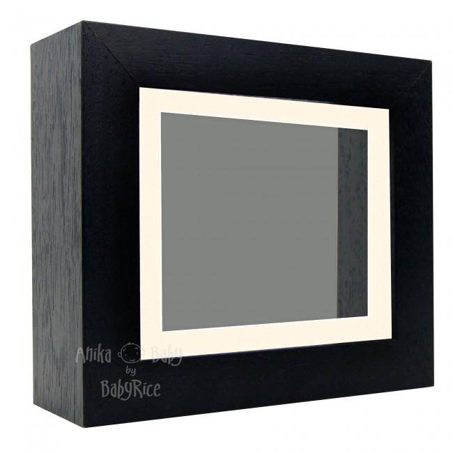 "Deluxe Black Deep Box Frame 6x5"" with Cream Mount and Grey Backing"