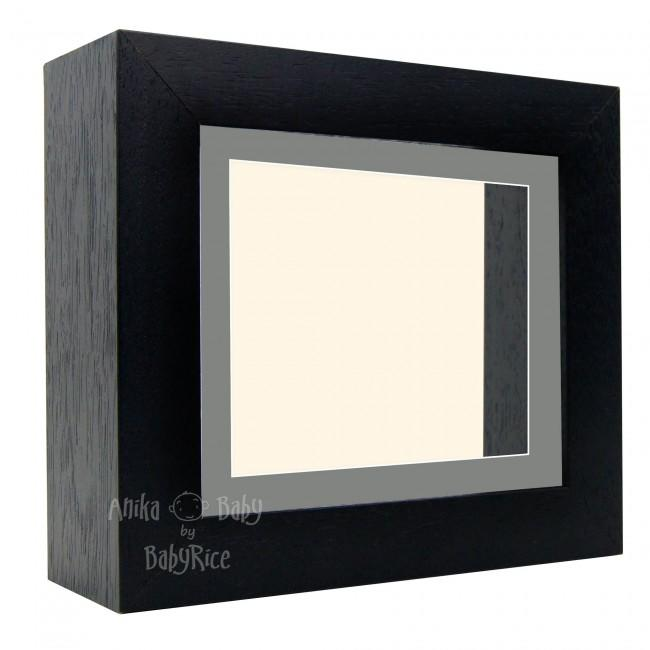 "Deluxe Black Deep Box Frame 6x5"" with Grey Mount and Cream Backing"