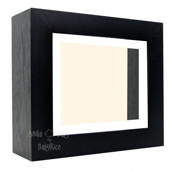 "Deluxe Black Deep Box Frame 6x5"" with White Mount and Cream Backing"