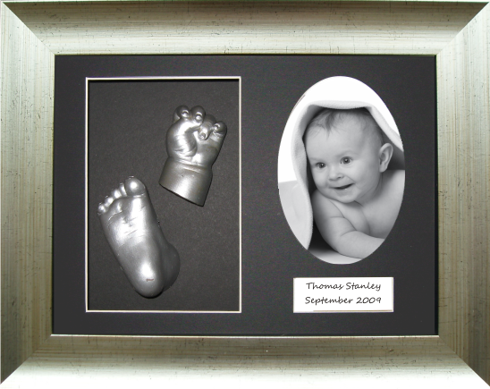 Baby Casting Kit, Antique Silver Frame, Silver Christening Gift