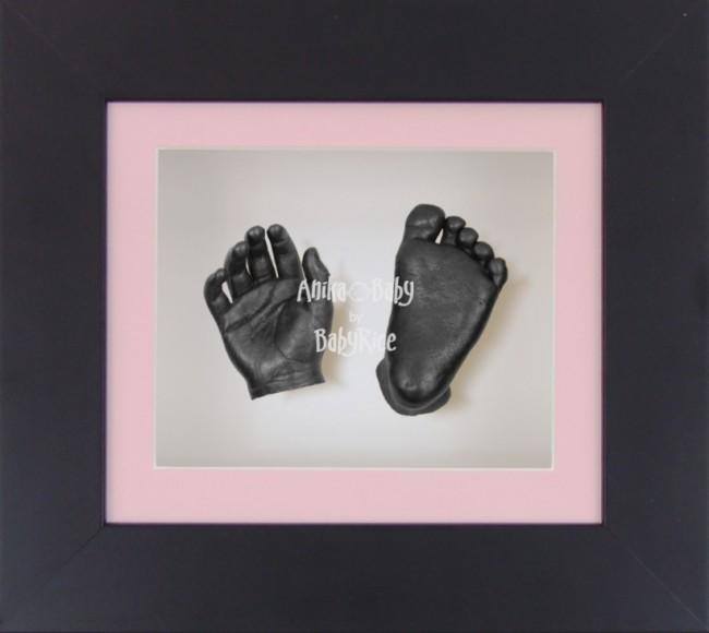 Baby Casting Kit Black Frame Pink White Display Pewter paint