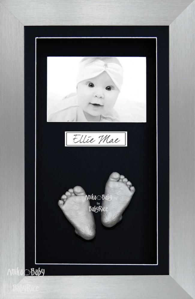 Twin Babies Large Baby Gift 3D Hand Foot Casting, Pewter Frame