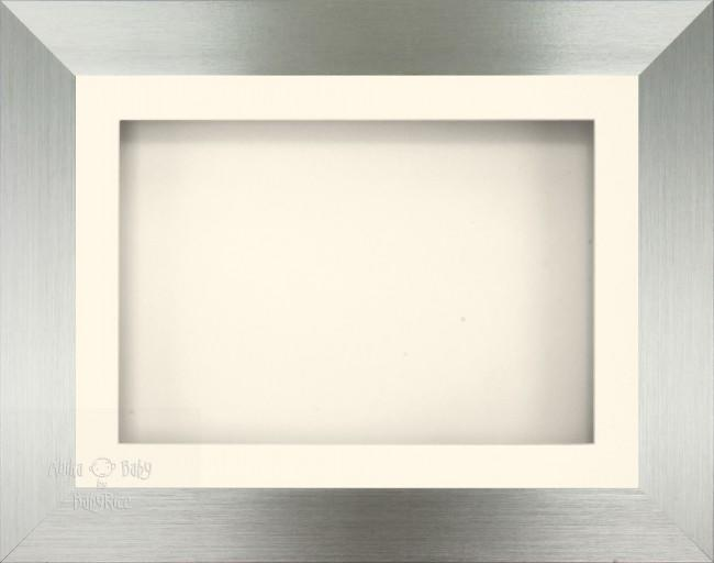 "11.5x8.5"" Brushed Pewter 3D Display Frame 1 Hole Cream Mount Cream Back"