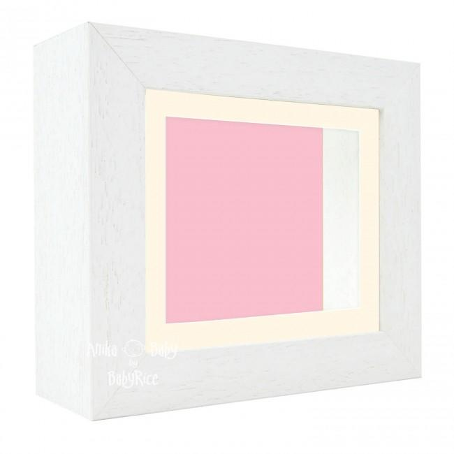 "Deluxe White Deep Box Frame 6x5"" with Cream Mount and Pink Backing"