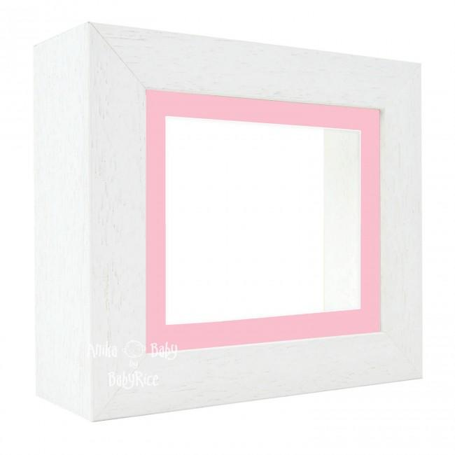 "Deluxe White Deep Box Frame 6x5"" with Pink Mount and White Backing"