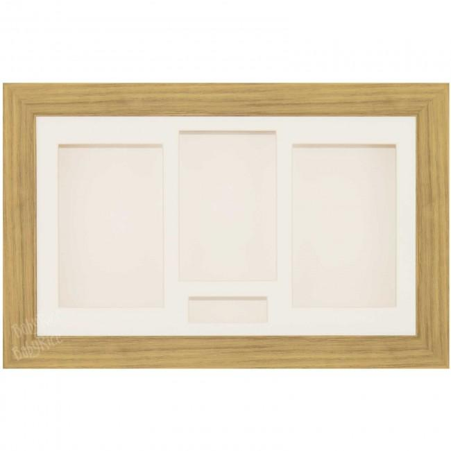 Large Medium Oak Effect 3D Shadow Box Display Frame for Photo and Casts