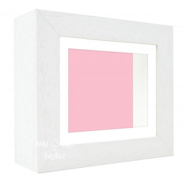 "Deluxe White Deep Box Frame 6x5"" with White Mount and Pink Backing"