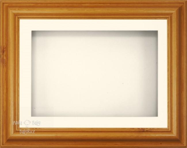 "11.5x8.5"" Honey Pine Wood 3D Display Frame 1 Hole Cream Mount Cream Back"