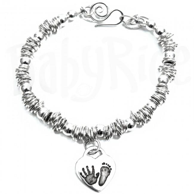 Silver Heart Charm Baby Child Handprint Footprint Sweetie Bracelet Oxidised Black Prints