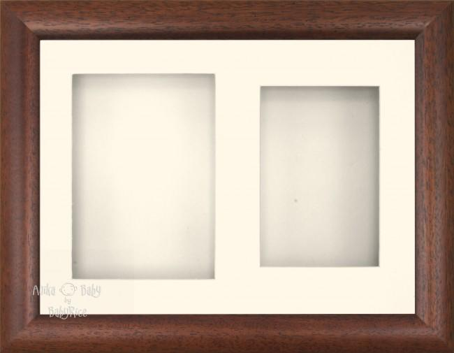 "11.5x8.5"" Dark Wood Effect 3D Display Frame 2 Hole Cream Mount Cream Back"