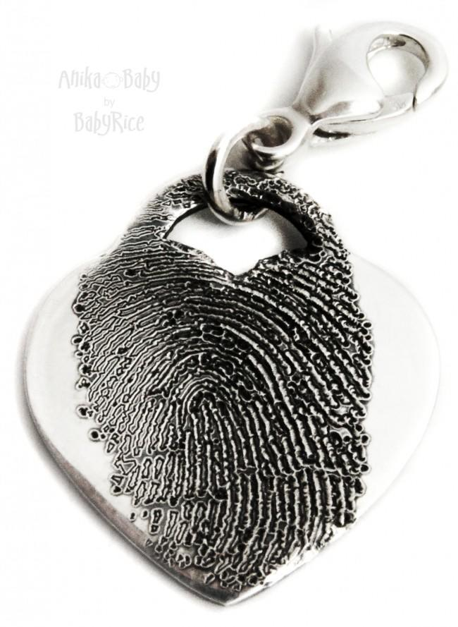 Adult Child Silver Fingerprint Jewellery Drop Heart Charm Dangler Oxi