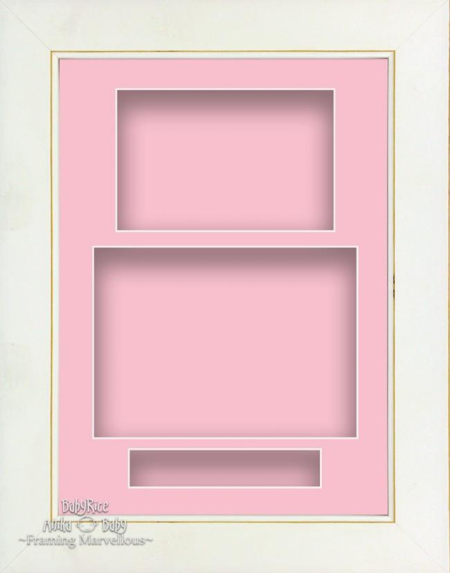 "11.5x8.5"" White Wash 3D Deep Shadow Box Display Frame Pink Portrait"
