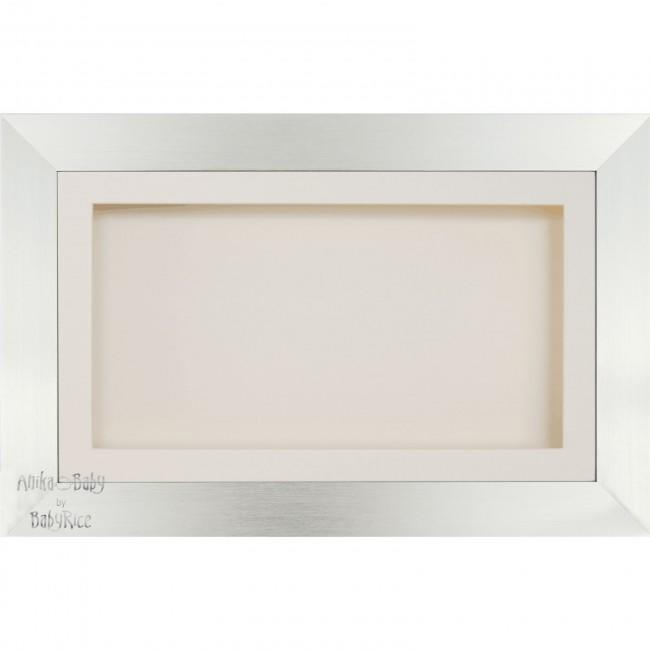 "15x9"" Wooden Shadow Box Deep Frame, Silver effect,"