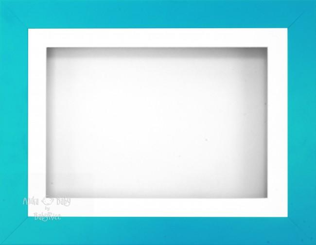 "11.5x8.5"" Blue Effect 3D Display Frame 1 Hole White Mount White Back"