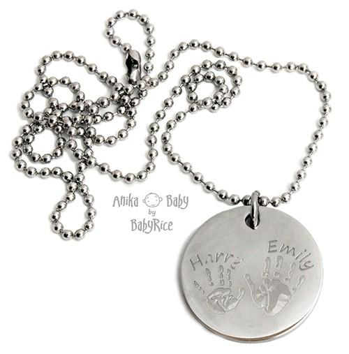 Large Stainless Steel Circle Hand Footprints Ballchain