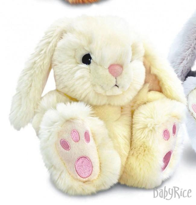 Large Cream Patchfoot Long Eared Cuddly Rabbit 35CM
