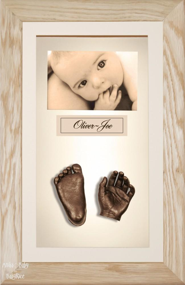 Large or Twins Baby Casting Kit / Solid Oak Frame / Bronze Casts