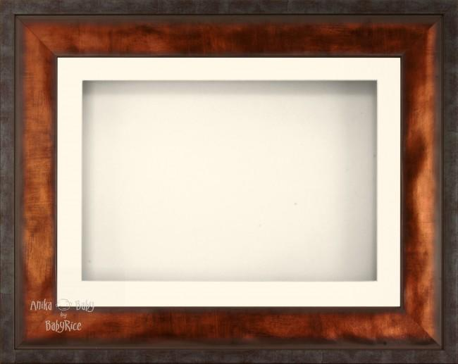 "12x9"" Urban Bronze 3D Display Frame 1 Hole Cream Mount Cream Back"